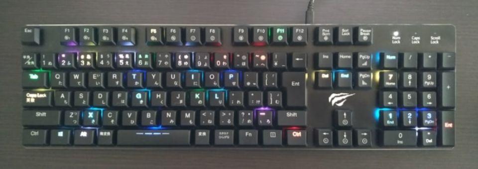 Havit メカニカルキーボード「HV KB395L JP」のレインモード