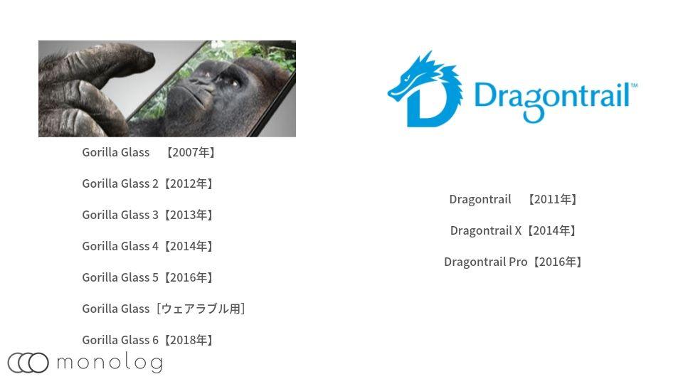 スマホのゴリラガラスとドラゴントレイルの比較