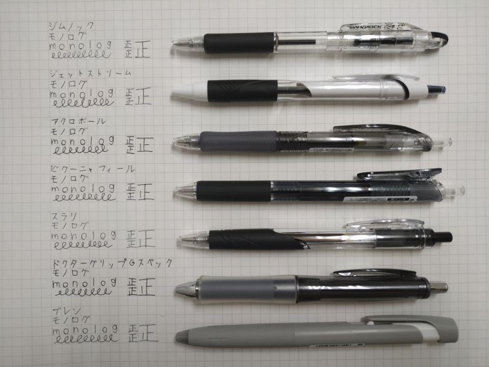 低価格帯油性ボールペン比較表 強い筆圧時