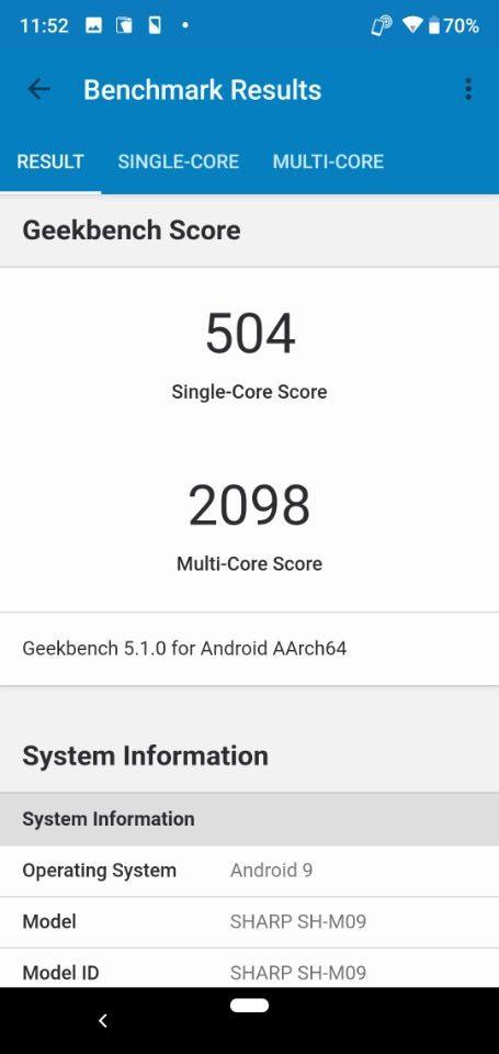 SHARP「AQUOS R2 Compact」のベンチマークテスト「Geekbench 5」1