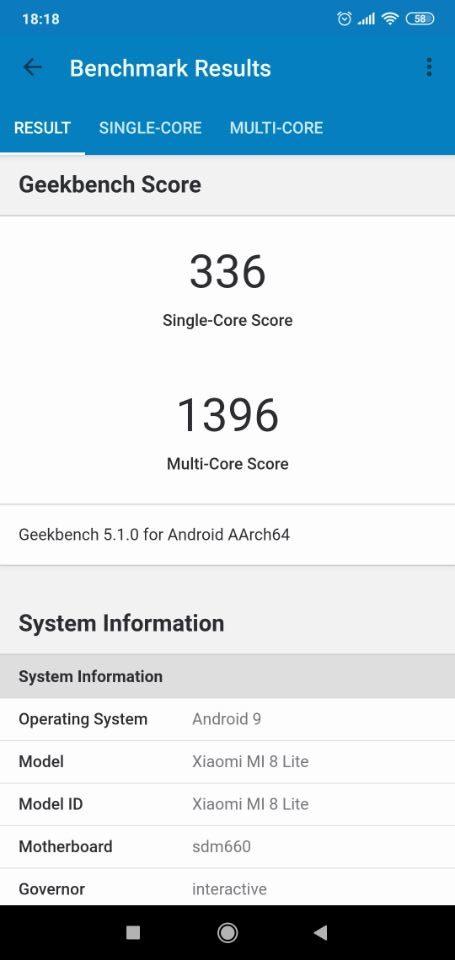 SHARP「AQUOS R2 Compact」のベンチマークテスト「Geekbench 5」2
