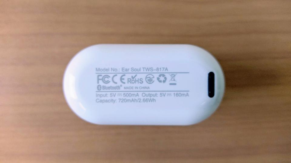 COUMI「Ear Soul TWS-817A」のUSB/TypeC
