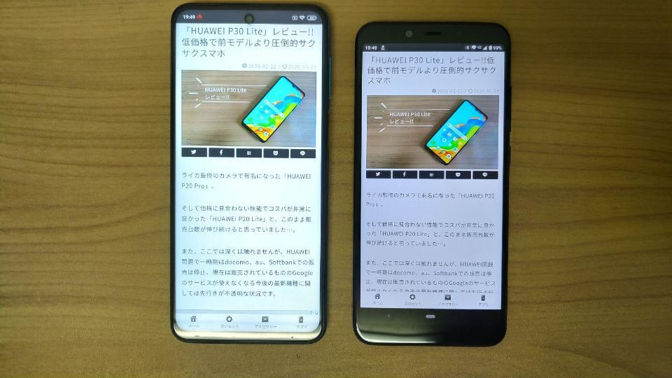 Xiaomi「Redmi Note 9S」のディスプレイ