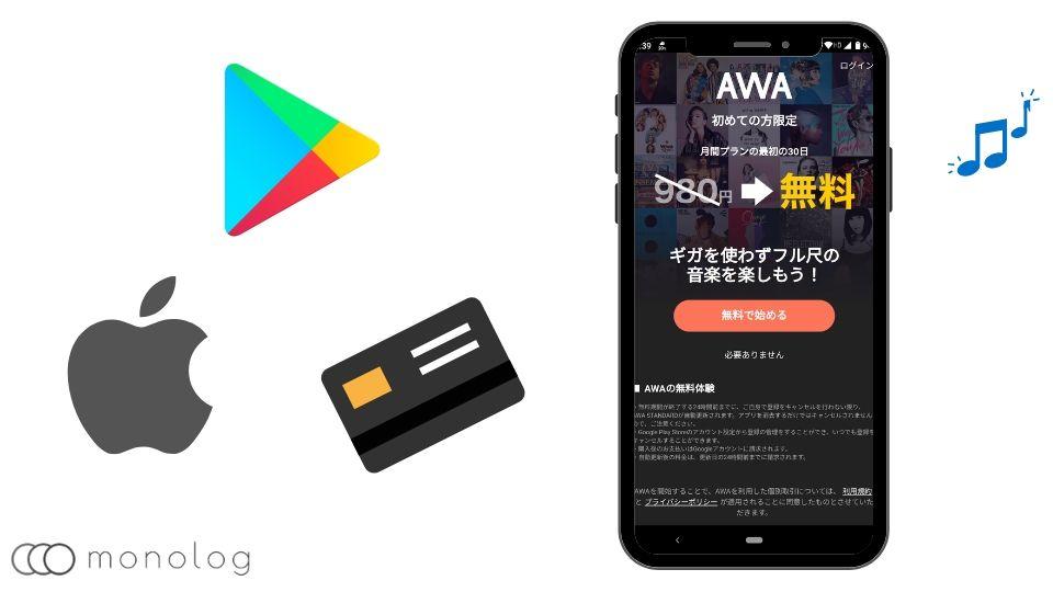 「AWA」の登録と契約方法