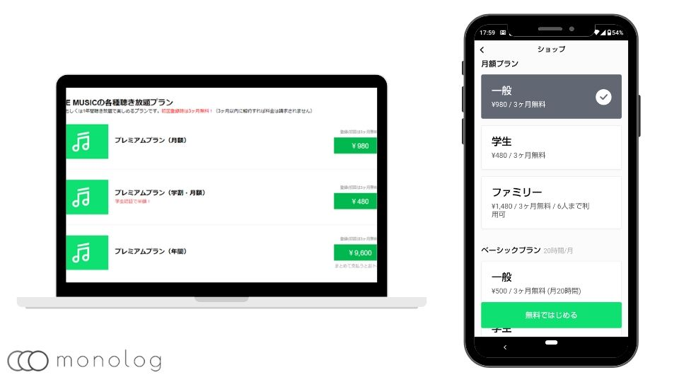 「LINE MUSIC」の料金プラン