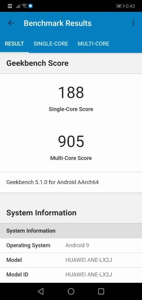 「HUAWEI P30 Lite」のベンチマークテスト「geekbench」1