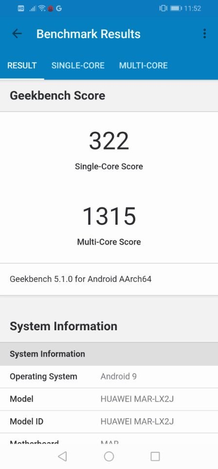 「HUAWEI P30 Lite」のベンチマークテスト「geekbench」2