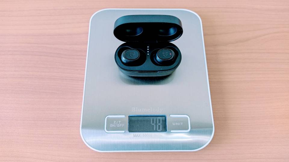 SoundPEATS「TrueFree 2」の本体+充電ケース重量