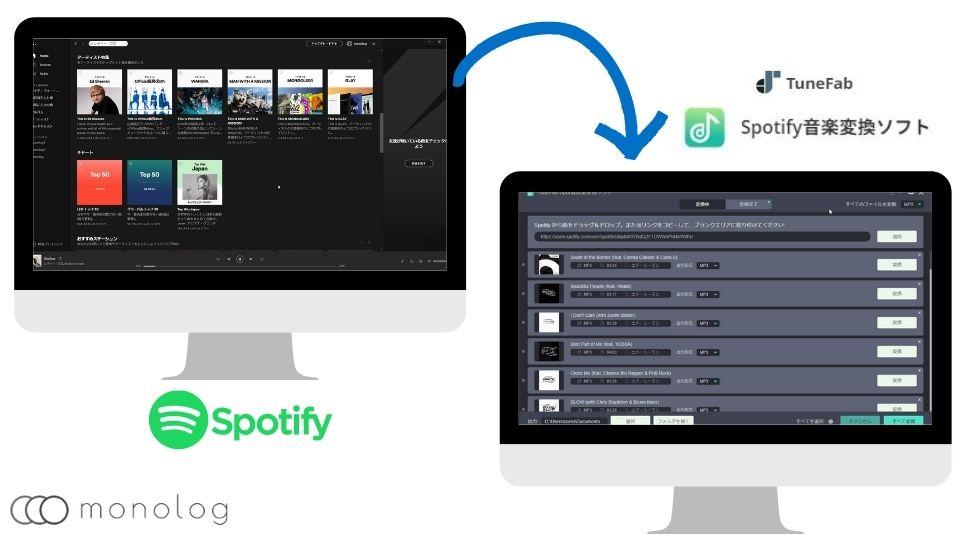 「TuneFab Spotify音楽変換ソフト」の保存手順