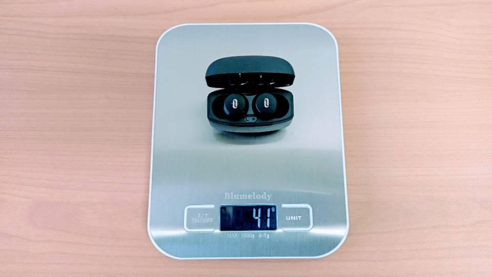 TaoTronics「SoundLiberty 97」のイヤホンと充電ケース重量